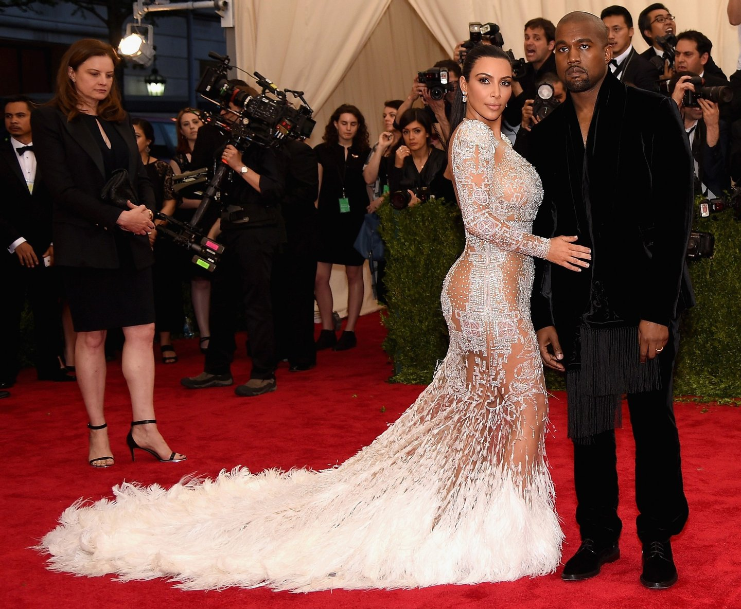 """NEW YORK, NY - MAY 04: Kim Kardashian West (L) and Kanye West attend the """"China: Through The Looking Glass"""" Costume Institute Benefit Gala at the Metropolitan Museum of Art on May 4, 2015 in New York City. (Photo by Dimitrios Kambouris/Getty Images) *** Local Caption *** Kim Kardashian West; Kanye West"""