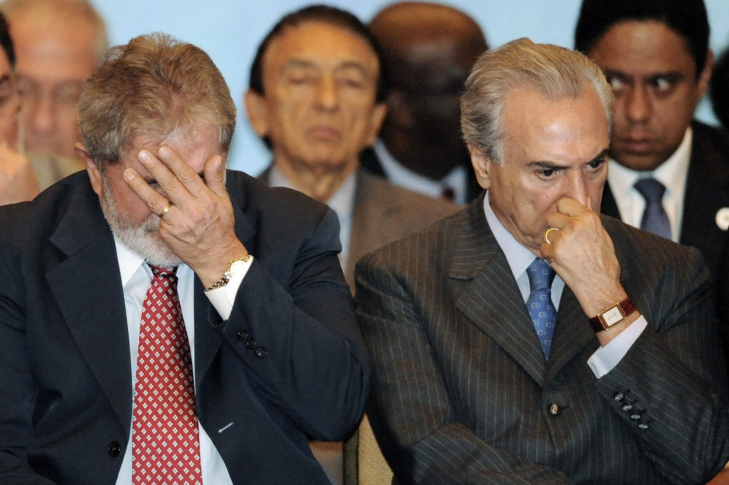 Brazilian President Luiz Inacio Lula da Silva (L) and lower house President Michel Temer attend the launching ceremony of the second-phase of Brazil?s Growth Acceleration Program (PAC2), in Brasilia, on March 29, 2010. The PAC2 foresees private and public investments of USD 529 billion between 2011 and 2014. AFP PHOTO/Evaristo SA (Photo credit should read EVARISTO SA/AFP/Getty Images)