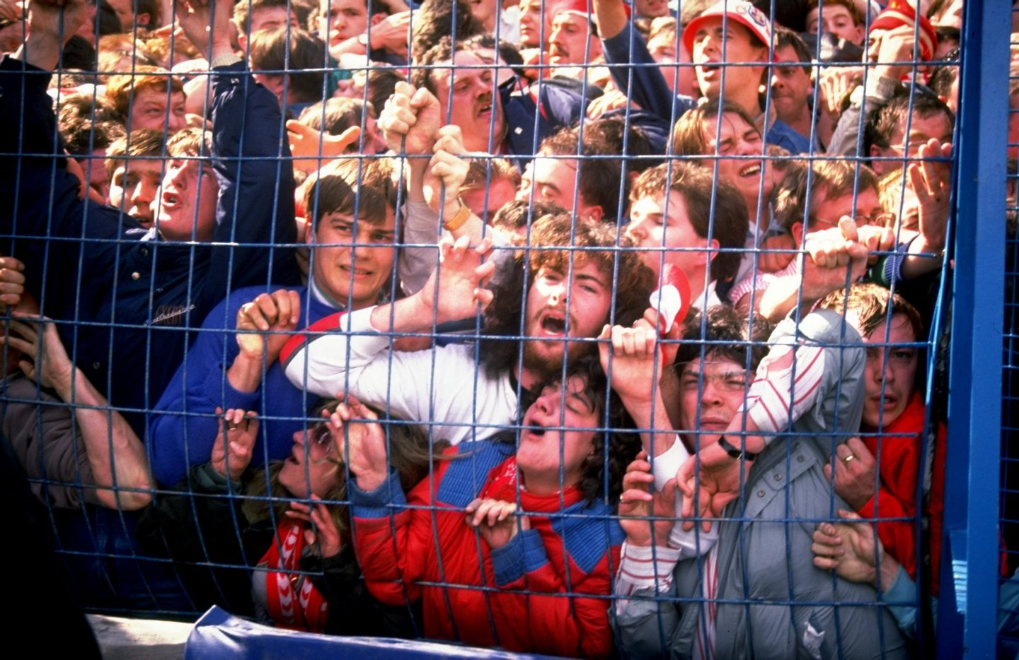 Apr 1989: Supporters are crushed against the barrier as disaster strikes before the FA Cup semi-final match between Liverpool and Nottingham Forest played at the Hillsborough Stadium in Sheffield, England. Mandatory Credit: David Cannon/Allsport