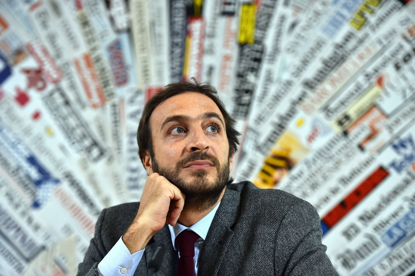 Emiliano Fittipaldi, one of two Italian journalists facing a criminal probe over leaks from the Vatican, gives a press conference on November 17, 2015 in Rome, a day after a hearing at the Vatican. AFP PHOTO / GABRIEL BOUYS (Photo credit should read GABRIEL BOUYS/AFP/Getty Images)