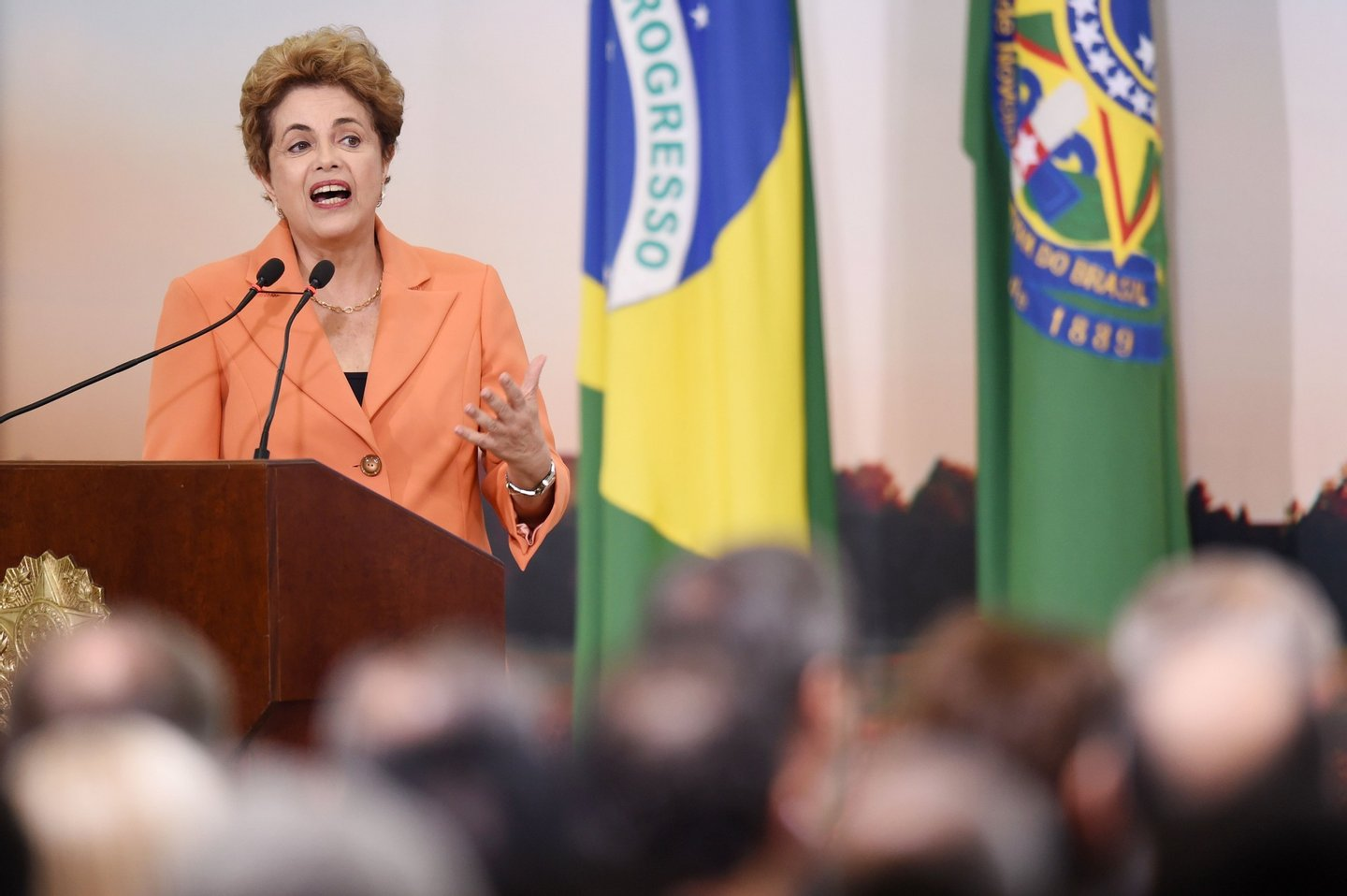Brazilian President Dilma Rousseff delivers a speech during the launching of the Agricultural and Livestock Plan for 2016/2017, at Planalto Palace in Brasilia, on May 4, 2016. Rousseff is fighting impeachment on allegations that she illegally borrowed money to boost public spending during her 2014 re-election campaign. / AFP / EVARISTO SA (Photo credit should read EVARISTO SA/AFP/Getty Images)