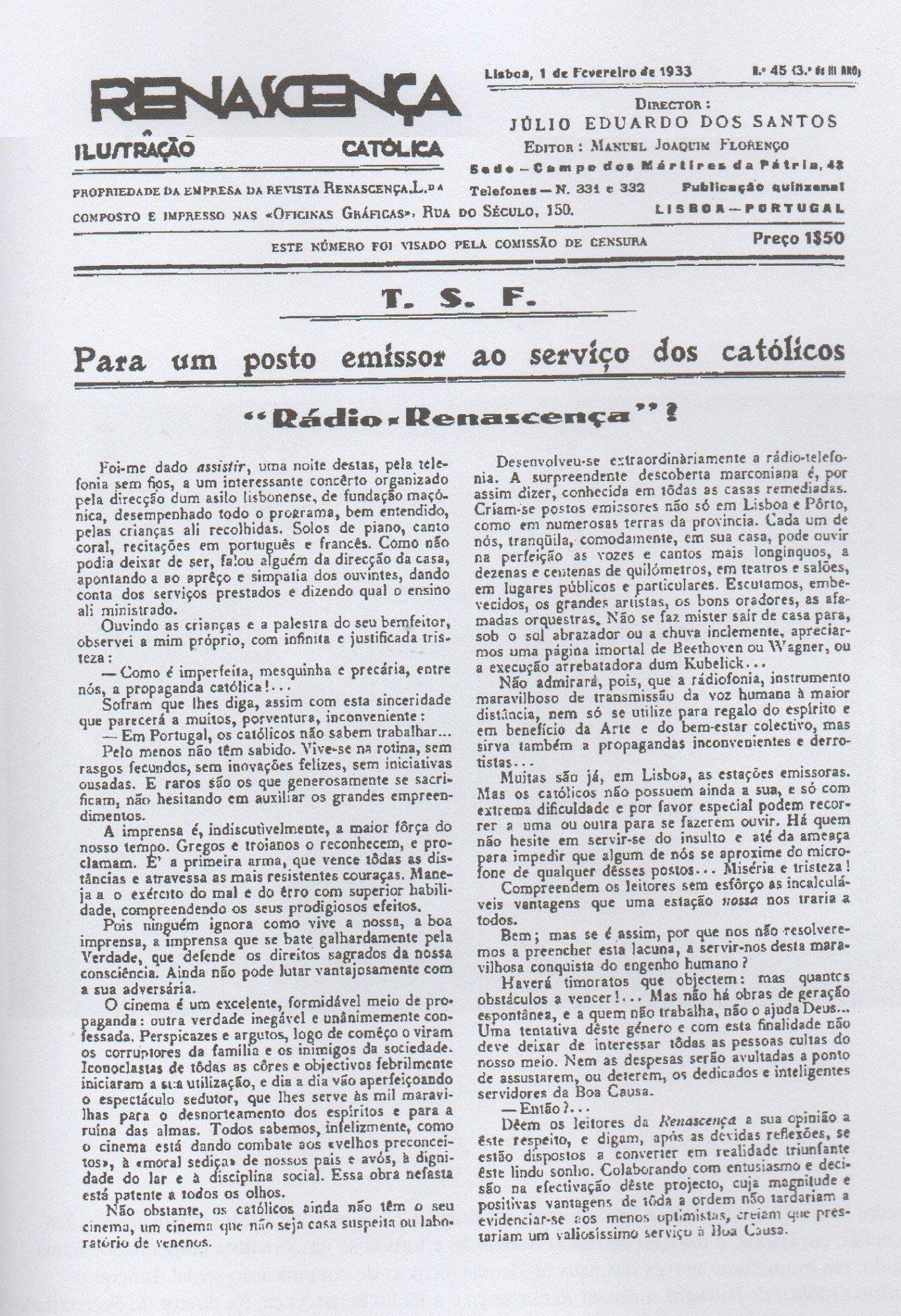 Artigo de Zuzarte Mendonça na revista Renascença, em 1933.