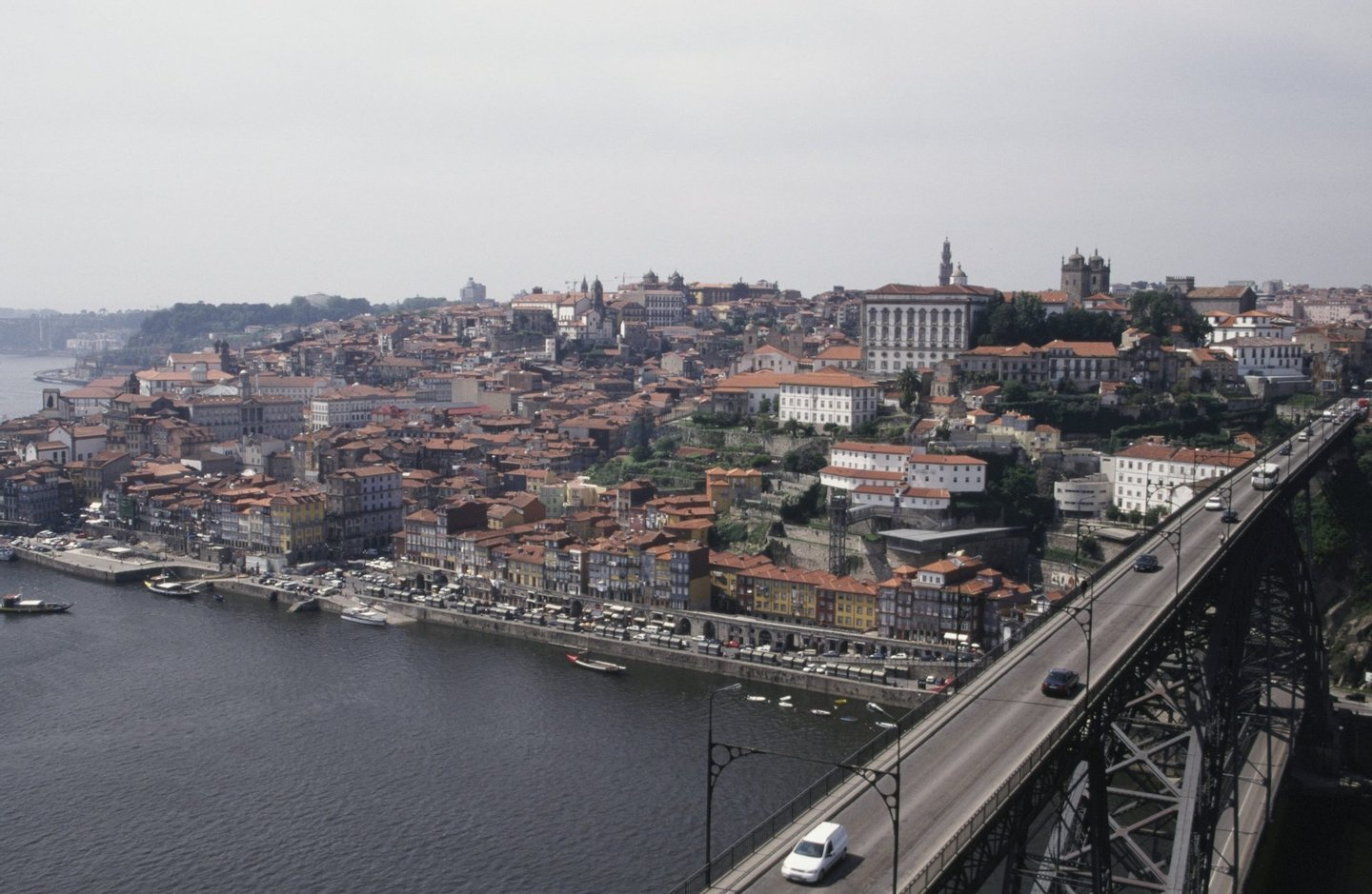 VILA NOVA DE GAIA, PORTUGAL - 2003: Portugal's historic city of Oporto is viewed from across the Douro River in this 2003 Vila Nova de Gaia, Portugal, photo. (Photo by George Rose/Getty Images)