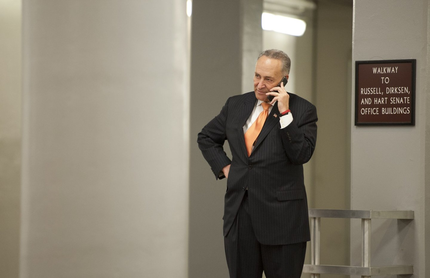 UNITED STATES - : Sen. Charles Schumer, D-NY., makes a call in the Senate subway of the U.S. Capitol on May 7, 2013. (Photo By Douglas Graham/CQ Roll Call)