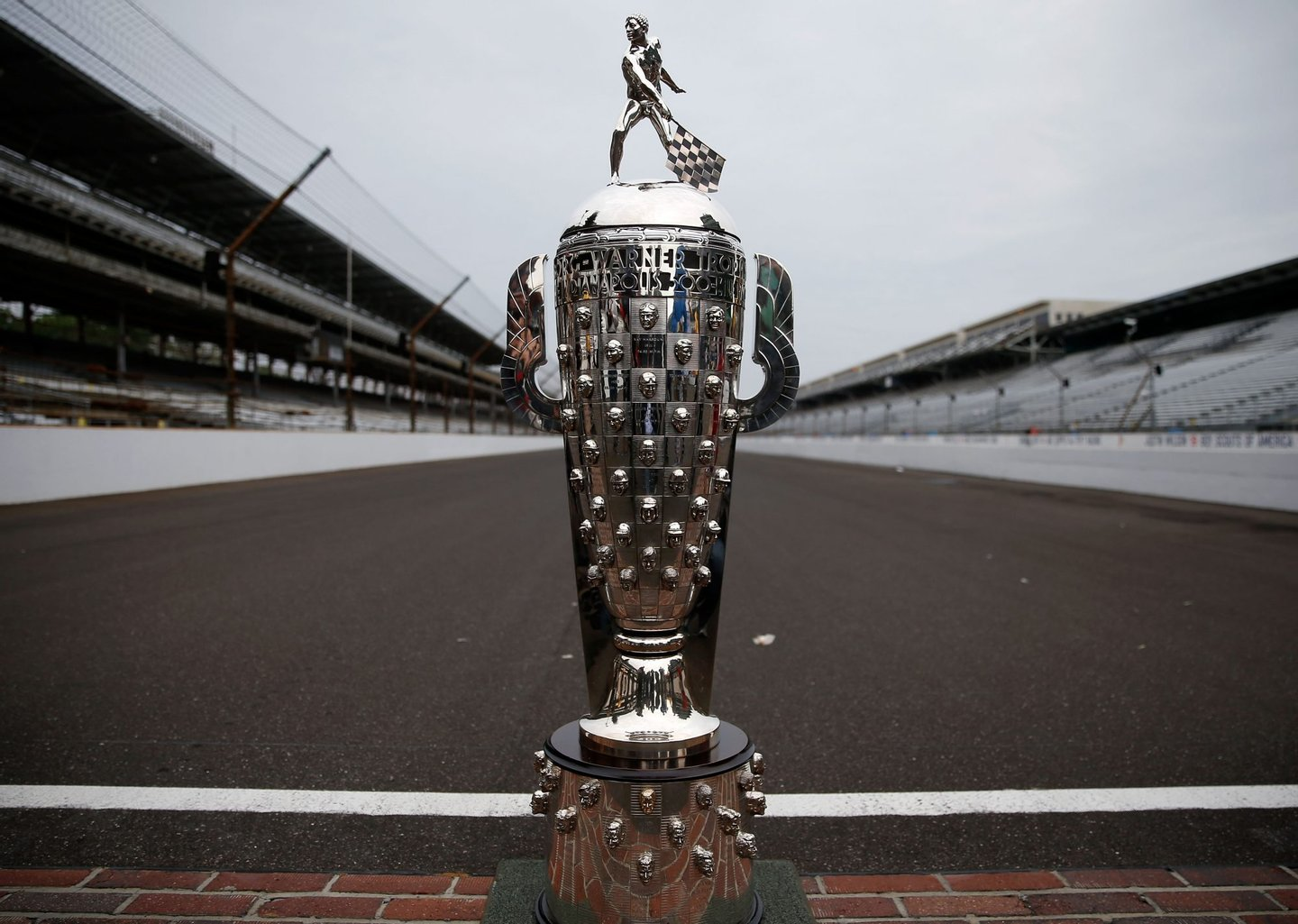 INDIANAPOLIS, IN - MAY 27: A detail of the Borg Warner Trophy on the yard of bricks during the Indianapolis 500 Mile Race Trophy Presentation and Champions Portrait Session for 2013 Indianapolis 500 Champion Tony Kanaan of Brazil, driver of the Hydroxycut KV Racing Technology-SH Racing Chevrolet, at Indianapolis Motor Speedway on May 27, 2013 in Indianapolis, Indiana. Kanaan earned his first Indy 500 victory by winning the 97th running of the race. (Photo by Chris Graythen/Getty Images)