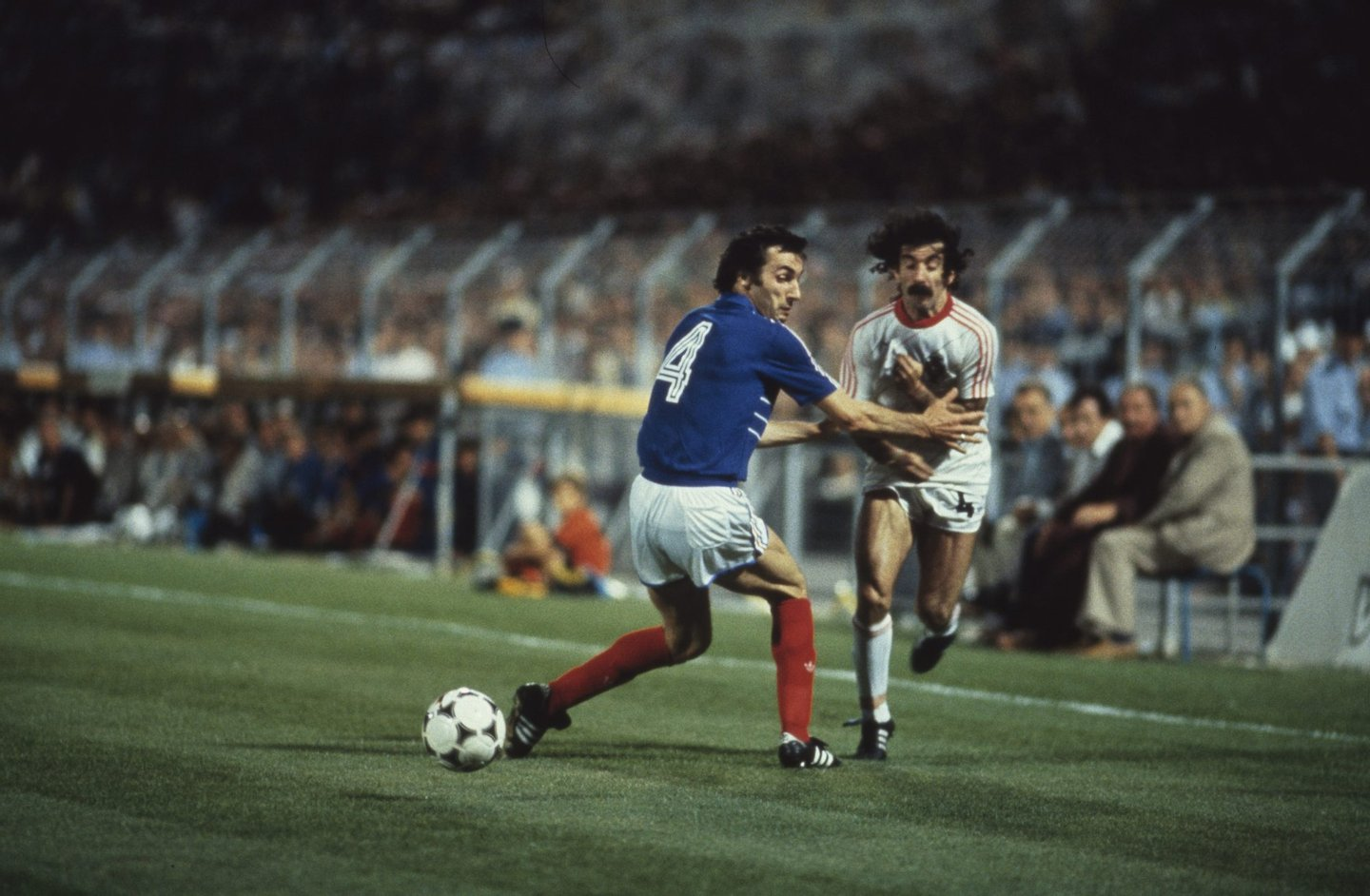MARSEILLE, FRANCE - JUNE 23: Max Bossis (L) of France challenges Chalana of Portugal during the UEFA European Championships 1984 Semi-Final match between France and Portugal held on June 23, 1984 at the Stade Velodrome in Marseille, France. (Photo by STAFF/AFP/Getty Images)