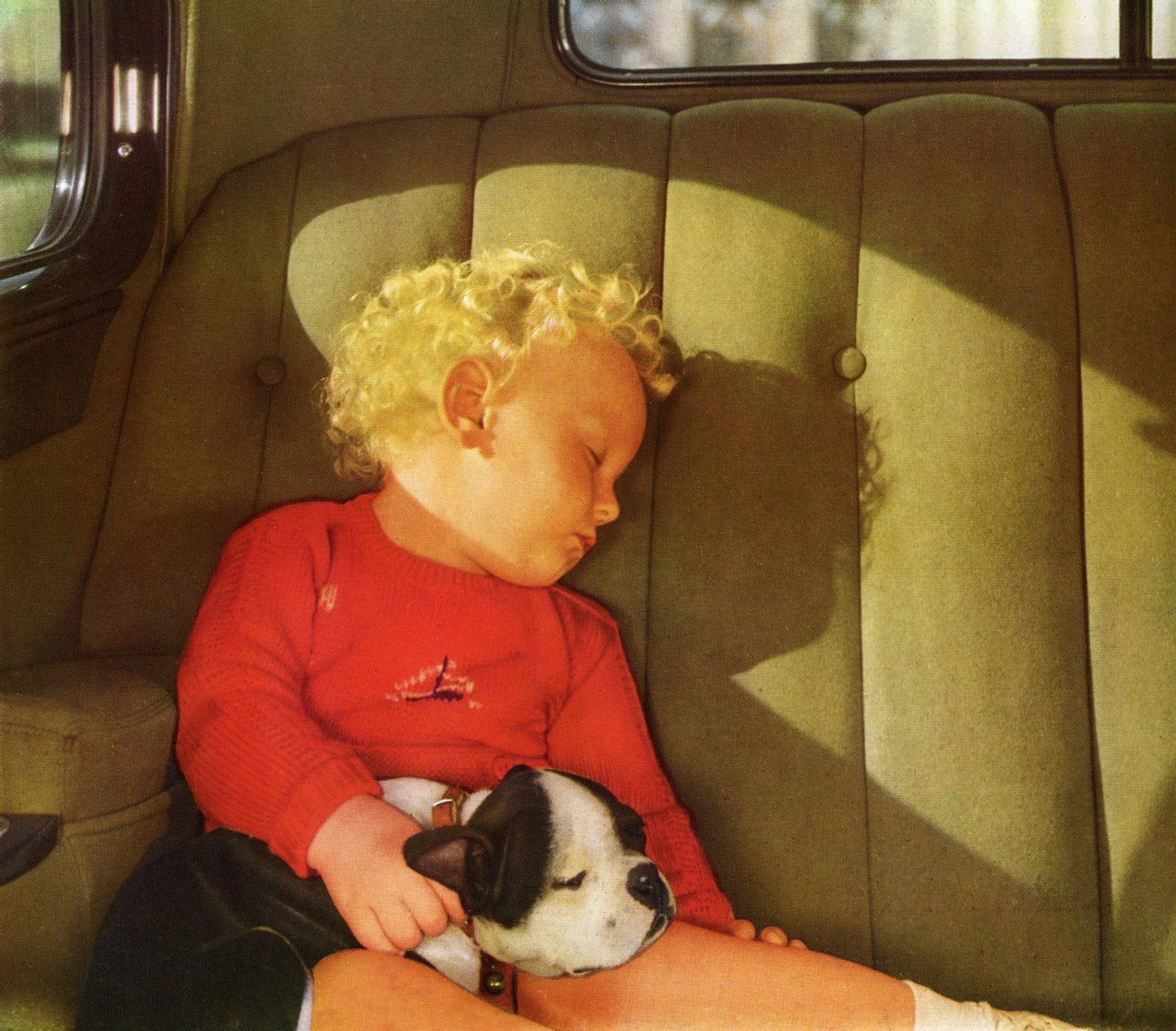 Vintage illustration of a blond little boy sleeping with his dog in the back seat of a car, 1930s. Screen print. (Illustration by GraphicaArtis/Getty Images)