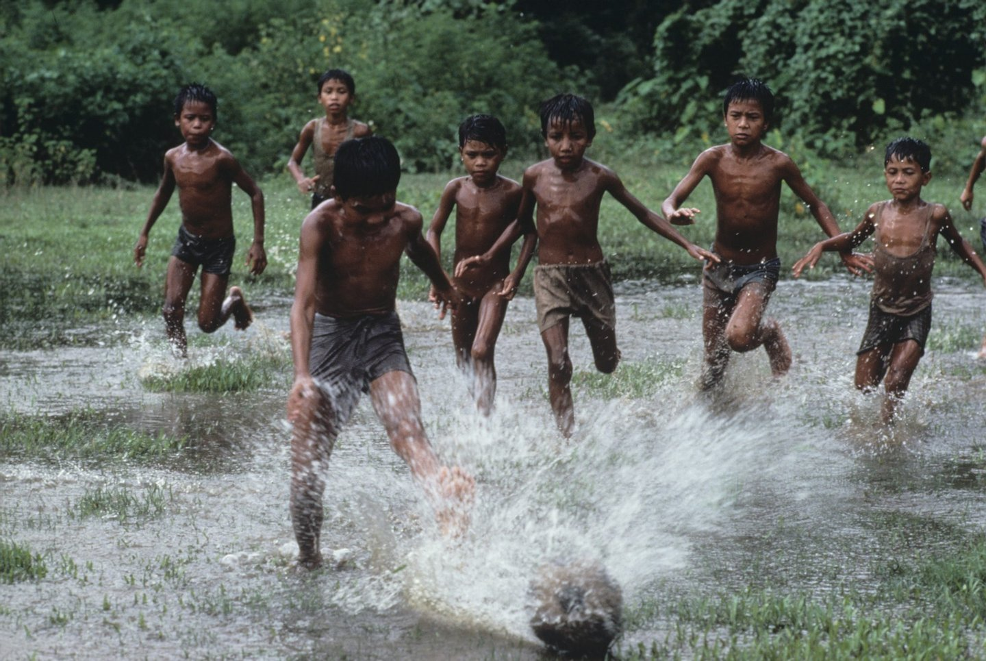 1983, BANGLADESH-10006.jpg, Bangladesh, boys, green, play, puddle, run, water,