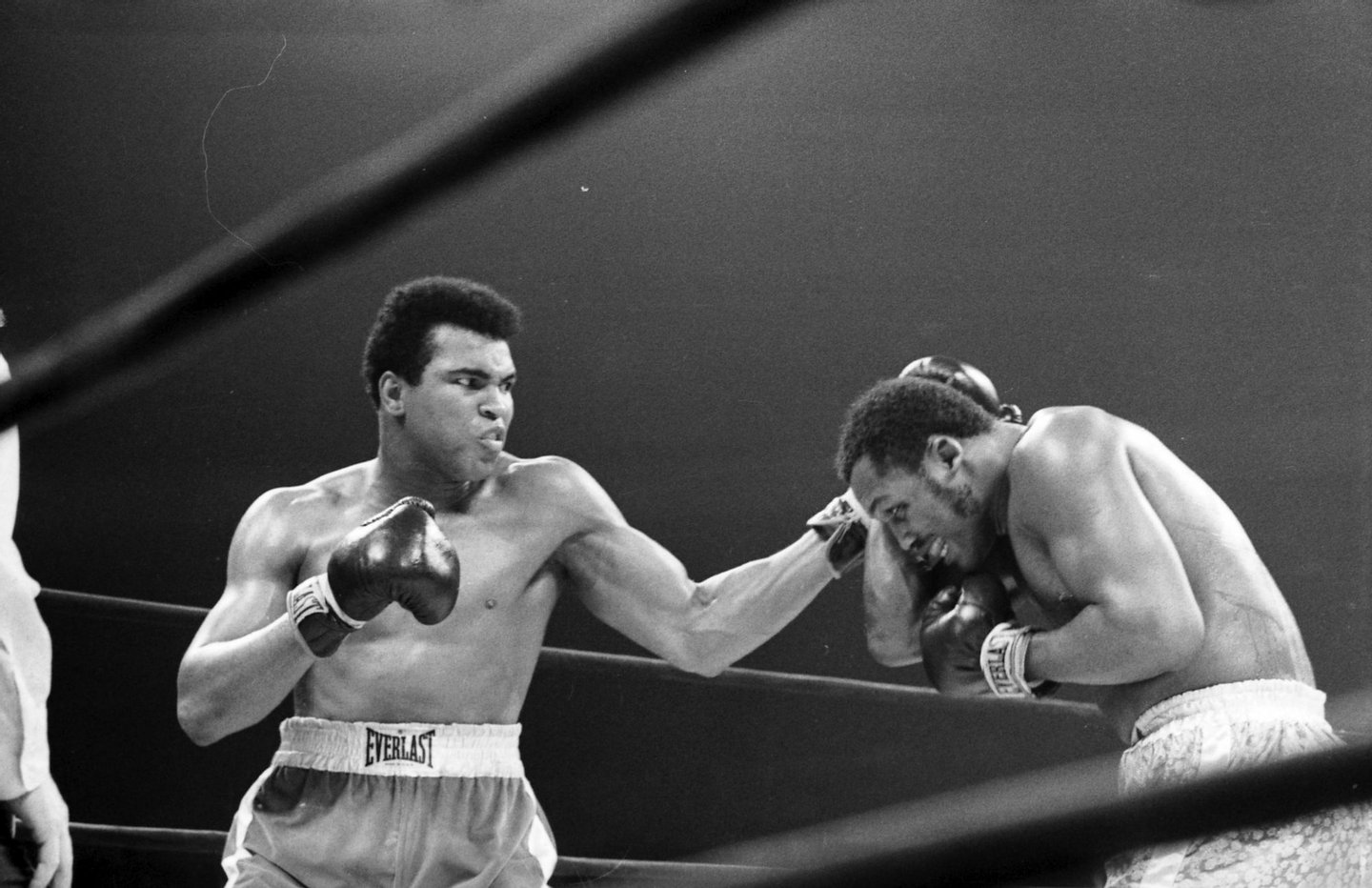 NEW YORK - MARCH 8, 1971: Muhammad Ali lands a left hook to Joe Frazier during a bout at Madison Square Garden on March 8, 1971 in New York, New York. (Photo by: The Ring Magazine/Getty Images)