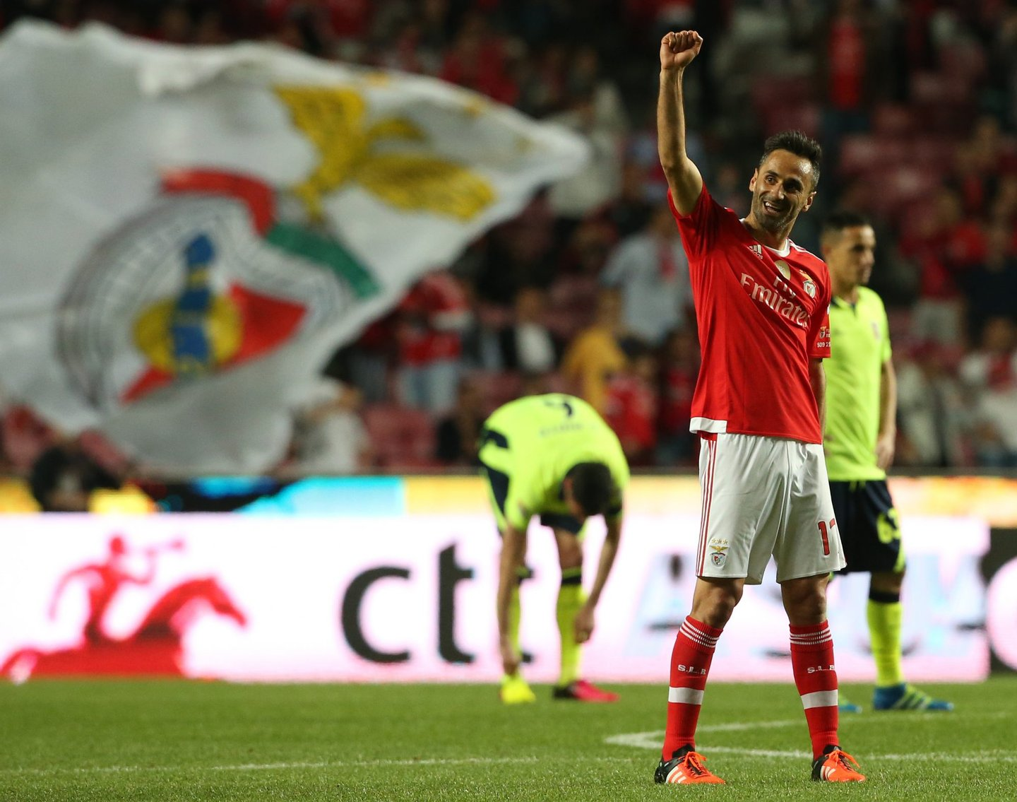 LISBON, PORTUGAL - MAY 2: SL Benfica's forward from Brazil Jonas celebrates after scoring a goal during the Taca CTT match between SL Benfica and SC Braga at Estadio da Luz on May 2, 2016 in Lisbon, Portugal. (Photo by Gualter Fatia/Getty Images)