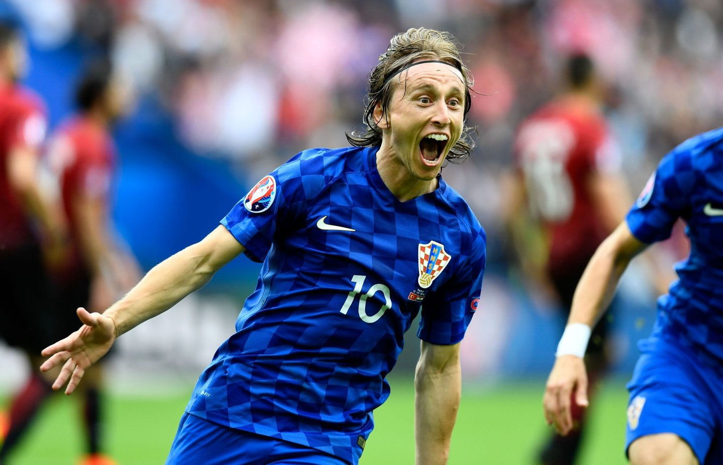PARIS, FRANCE - JUNE 12: Luka Modric of Croatia celebrates scoring his team's first goal during the UEFA EURO 2016 Group D match between Turkey and Croatia at Parc des Princes on June 12, 2016 in Paris, France. (Photo by Mike Hewitt/Getty Images)