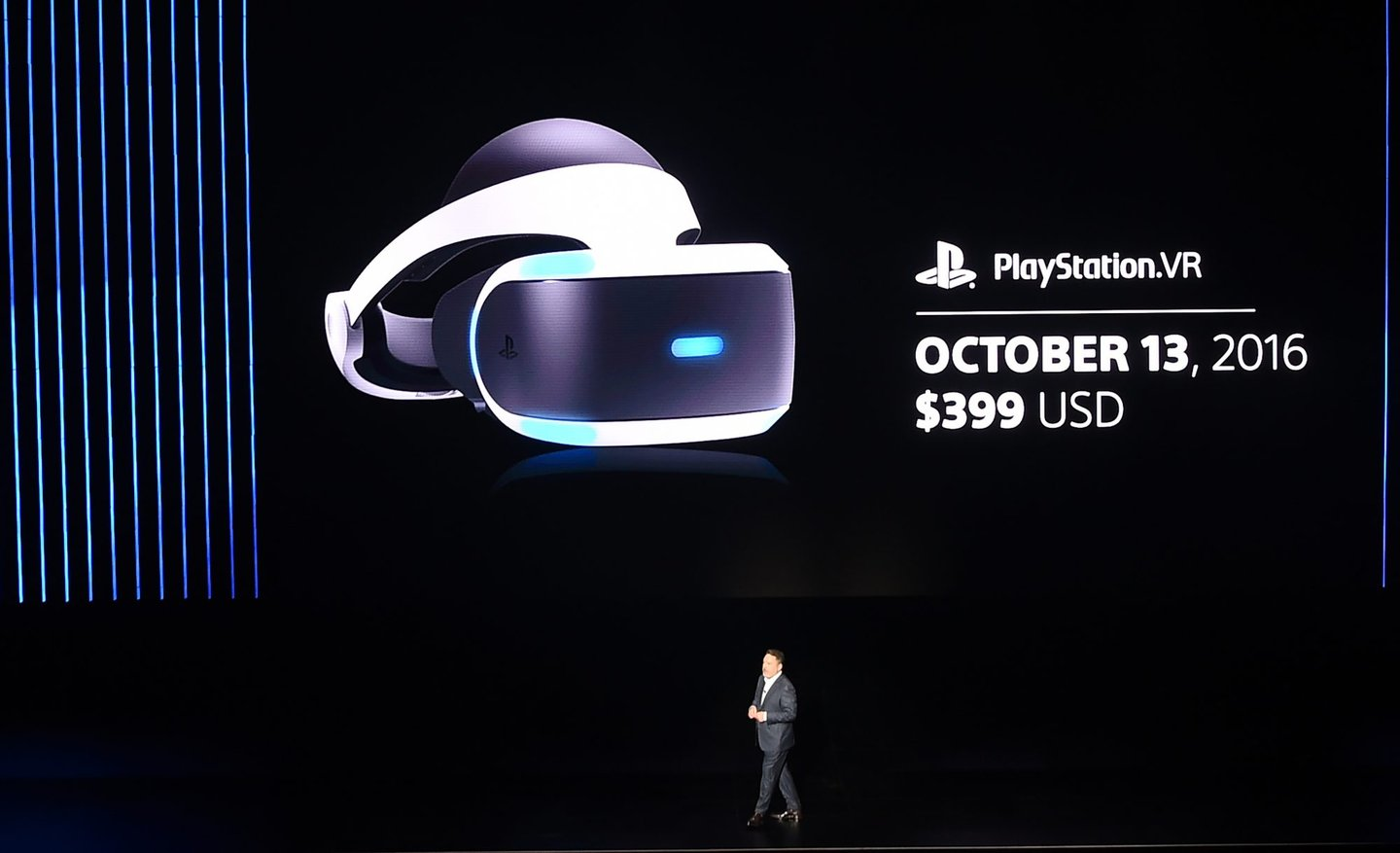 Shawn Layden, chairman of Sony Interactive Entertainment (SIE) Worldwide Studios, announces that Sonys PlayStation VR headset will be for sale on October 13, 2016 for USD $399, at the Sony PlayStation E3 press conference is underway at the Shrine Auditorium in Los Angeles, California, June 13, 2016. / AFP / ROBYN BECK (Photo credit should read ROBYN BECK/AFP/Getty Images)