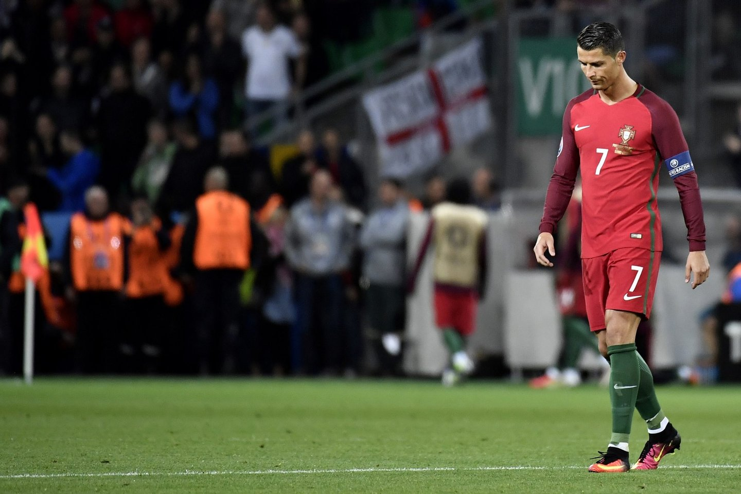 Portugal's forward Cristiano Ronaldo walks on the pitch during the Euro 2016 group F football match between Portugal and Iceland at the Geoffroy-Guichard stadium in Saint-Etienne on June 14, 2016. / AFP / jeff pachoud (Photo credit should read JEFF PACHOUD/AFP/Getty Images)