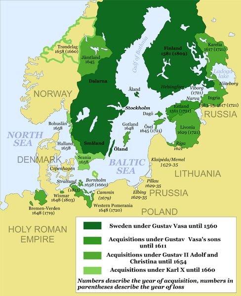 A dilatação do Império Sueco. De verde mais escuro para mais claro: a Suécia no reinado de Gustavo Vasa, até 1560; conquistas dos filhos de Gustavo Vasa, até 1611; conquistas de Gustavo Adolfo II até 1654; conquistas de Carlos X, até 1660