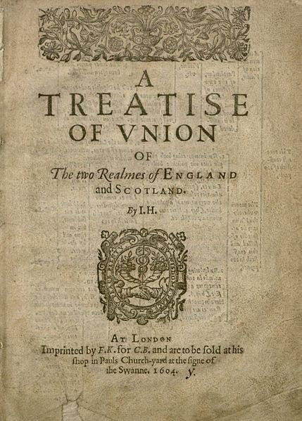 """""""Tratado de união entre os reinos da Inglaterra e da Escócia"""", 1604. Se, num segundo referendo, a Escócia optar pela saída do Reino Unido, e se Gales e a Irlanda do Norte seguirem o seu exemplo, o Reino Unido e a Grã-Bretanha também irão para o caixote do lixo da história"""