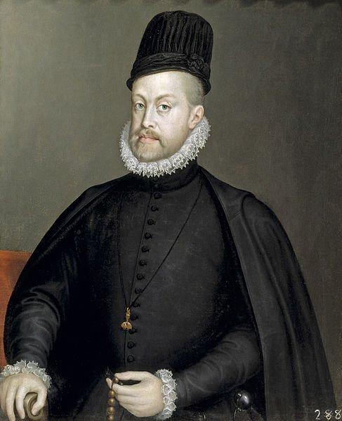 """Filipe II de Espanha, retratado por Sofonisba Anguissola, em 1565. Filipe achava-se triplamente legitimado para tomar posse de Portugal – """"herdei-o, comprei-o e conquistei-o"""" – mas isso não impediu Filipe IV de o perder"""