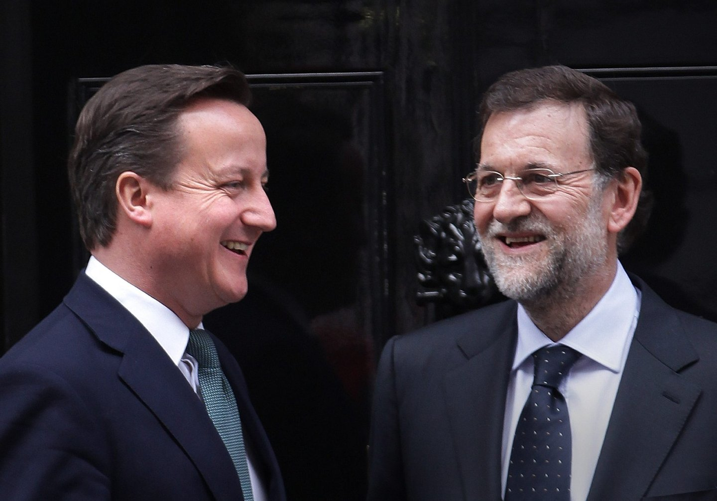 LONDON, ENGLAND - FEBRUARY 21: Prime Minister David Cameron (L) meets with Spanish Prime Minister Mariano Rajoy at 10 Downing Street on February 21, 2012 in London, England. Mr Rajoy is expected to raise the issue of Gibraltar with Mr Cameron. (Photo by Peter Macdiarmid/Getty Images)