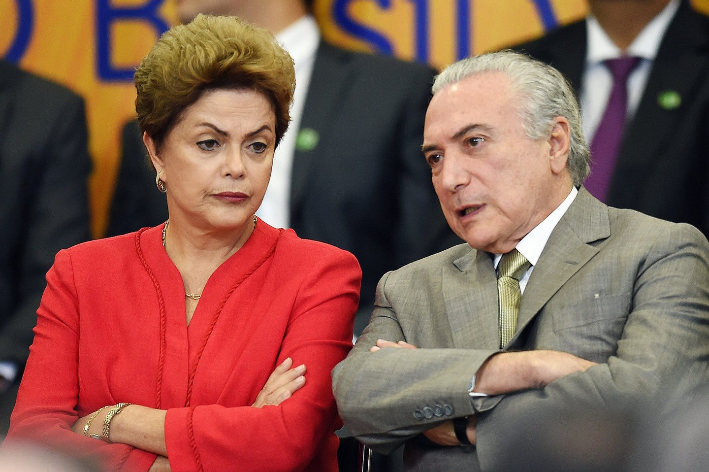 Brazilian President Dilma Rousseff and her vice President Michel Temer attend the launching ceremony of the Logistics Investment Program (LIP), at the Planalto Palace in Brasilia, on June 9, 2015. Brazil announced a $64-billion infrastructure spending package on Tuesday, hoping to revive its flagging economy with investment in highways, railroads, ports and airports. AFP PHOTO/EVARISTO SA (Photo credit should read EVARISTO SA/AFP/Getty Images)