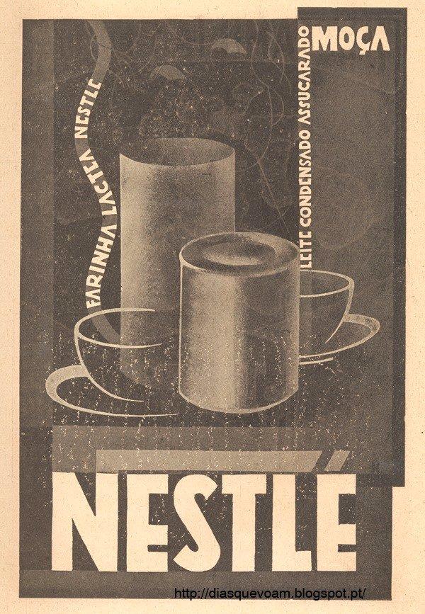 Anúncio dos anos 30, às farinhas e ao leite condensado da Nestlé