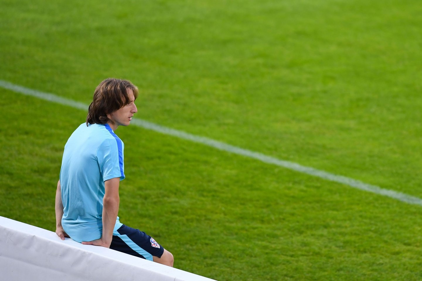 BORDEAUX, FRANCE - JUNE 20:  Luka Modric of Croatia looks on during a training session ahead of their UEFA  Euro 2016 Group D match against Spain at Stade Chaban-Delmas on June 20, 2016 in Bordeaux, France.  (Photo by David Ramos/Getty Images)