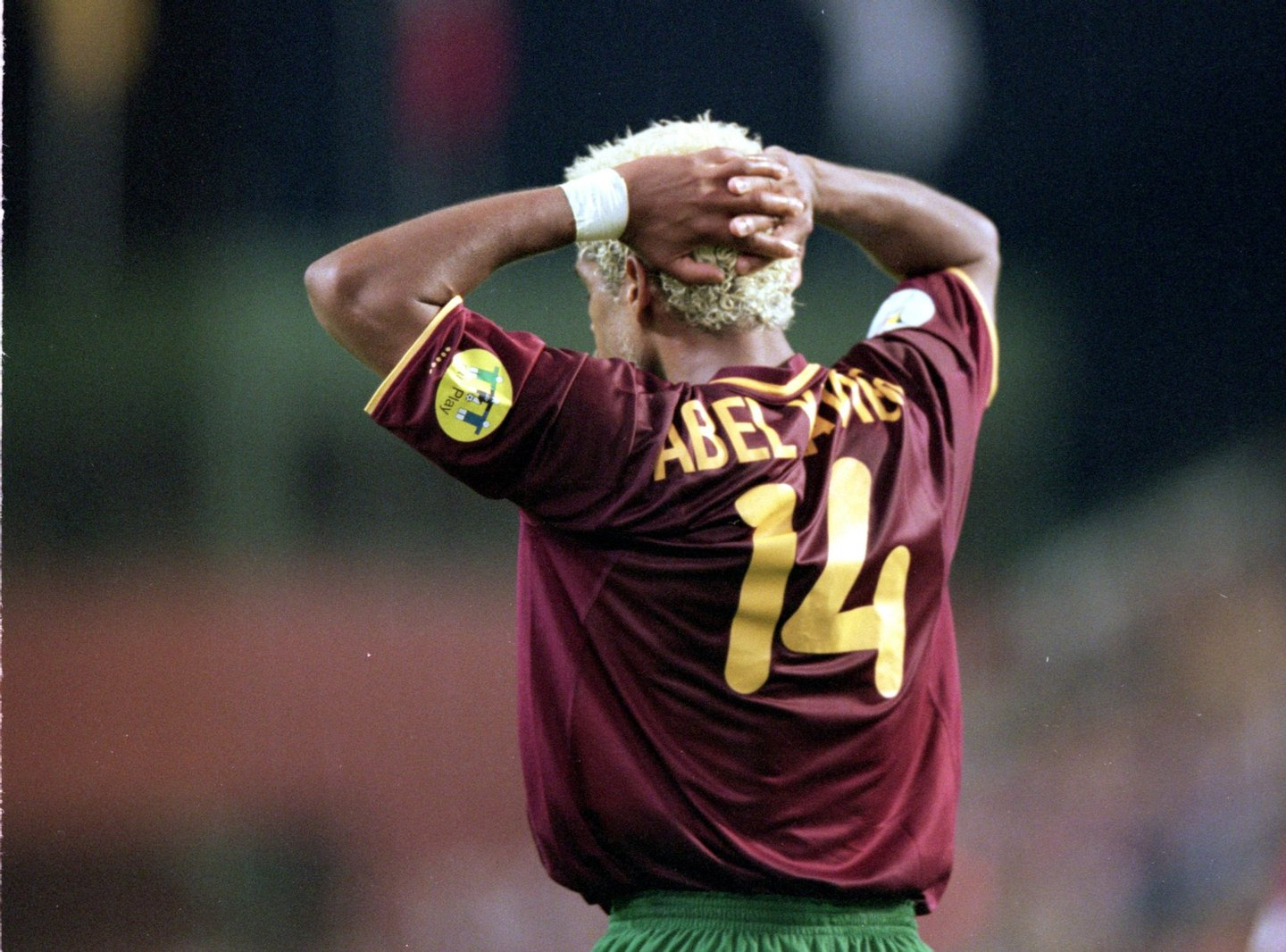 28 Jun 2000: Abel Xavier of Portugal holds his head after the European Championships 2000 semi-final against France at the King Baudouin Stadium in Brussels, Belgium. France won the match 2-1 with a golden goal in extra-time. Mandatory Credit: GrahamChadwick /Allsport