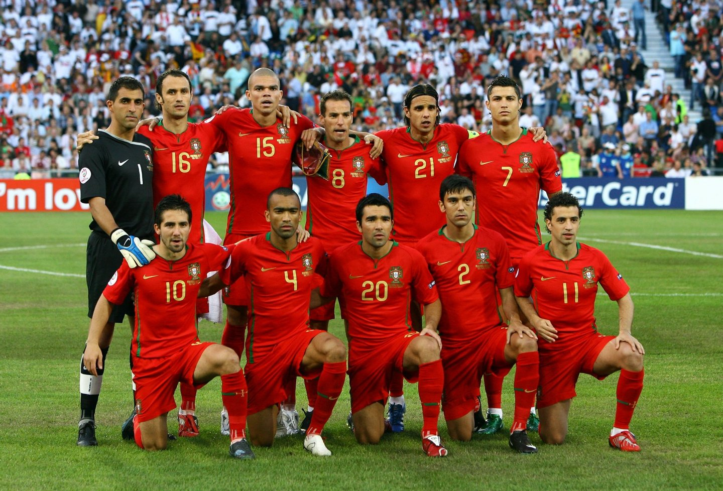 BASEL, SWITZERLAND - JUNE 19: The Portugal team pose during the UEFA EURO 2008 Quarter Final match between Portugal and Germany at St. Jakob-Park on June 19, 2008 in Basel, Switzerland. (Photo by Alex Livesey/Getty Images)