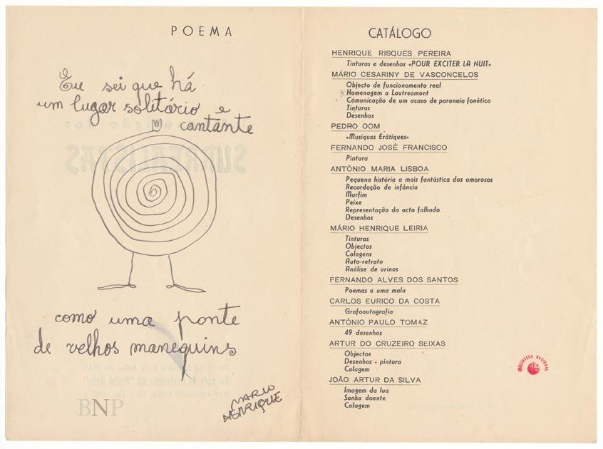 Catálogo da 1.ª exposição dos surrealistas, 1949, com poema-imagem de Mário Henrique Leiria