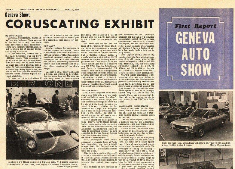 """O primeiro Miura foi uma das estrelas do Salão de Genebra, numa edição que acompanhava o """"boom"""" automobilístico na Europa. O número de expositores era maior do que nunca, num total de 1178 vindos de 22 países"""