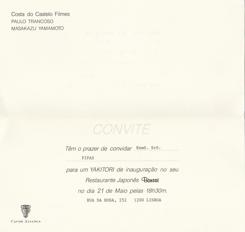 Convite Inauguração Bonsai