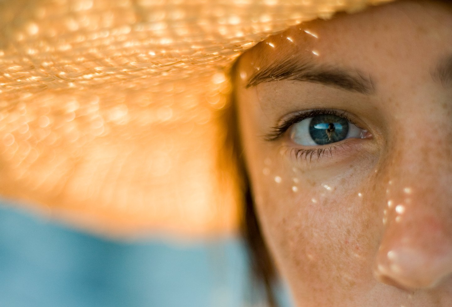 Holiday, Portrait, Women, Females, Straw Hat, Hat, Vacations, Eyelash, Human Eye, Freckle, People, Shadow, Summer, blick, intensiv, People, Weibliche Person,