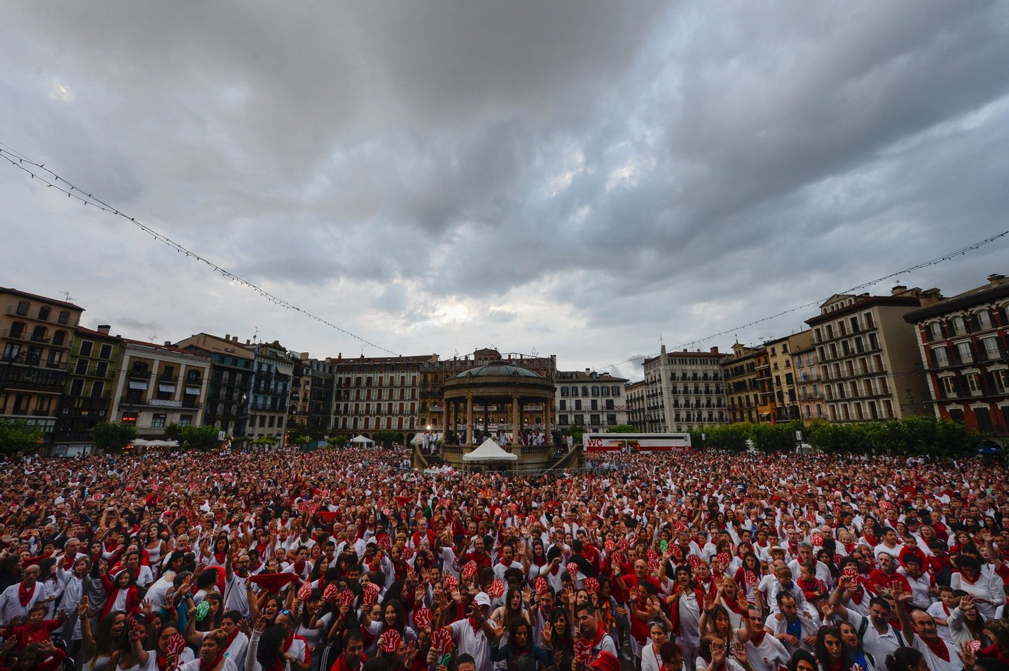 Thousands of people protest against the growing number of sexual assaults during the San Fermin bull run festival in Pamplona, northern Spain on July 11, 2016. Police said on July 7, 2016 they have made five arrests after a woman said she had been sexually assaulted overnight. / AFP / MIGUEL RIOPA (Photo credit should read MIGUEL RIOPA/AFP/Getty Images)