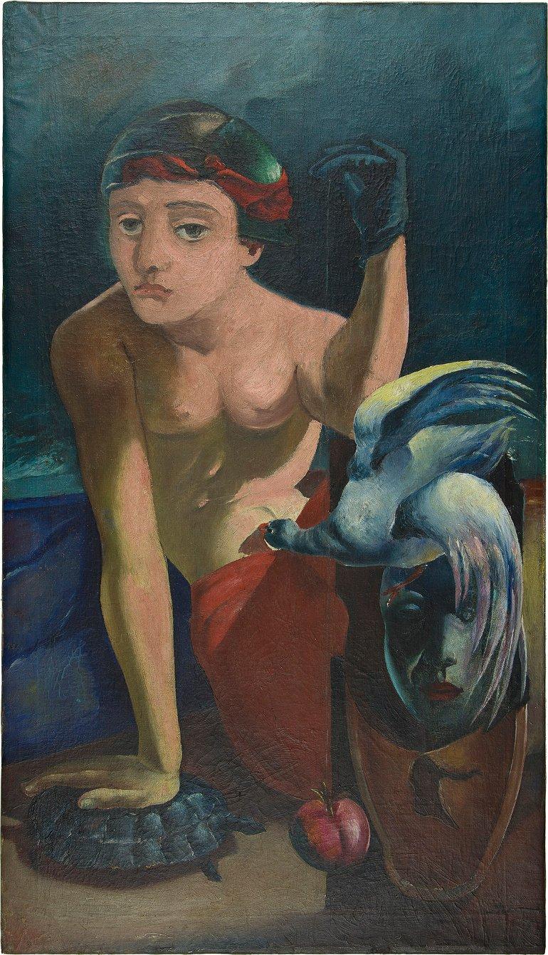 """""""Cena com um pêndulo"""", de António Dacosta (1941). Esta foi a última obra adquirida pela Fundação Calouste Gulbenkian."""