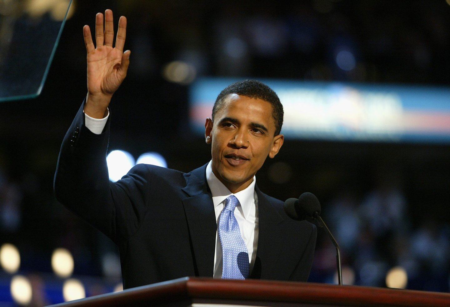 BOSTON - JULY 27: U.S. Senate candidate Barack Obama of Illinois delivers the keynote address to delegates on the floor of the FleetCenter on the second day of the Democratic National Convention July 27, 2004 in Boston, Massachusetts. (Photo by Spencer Platt/Getty Images)