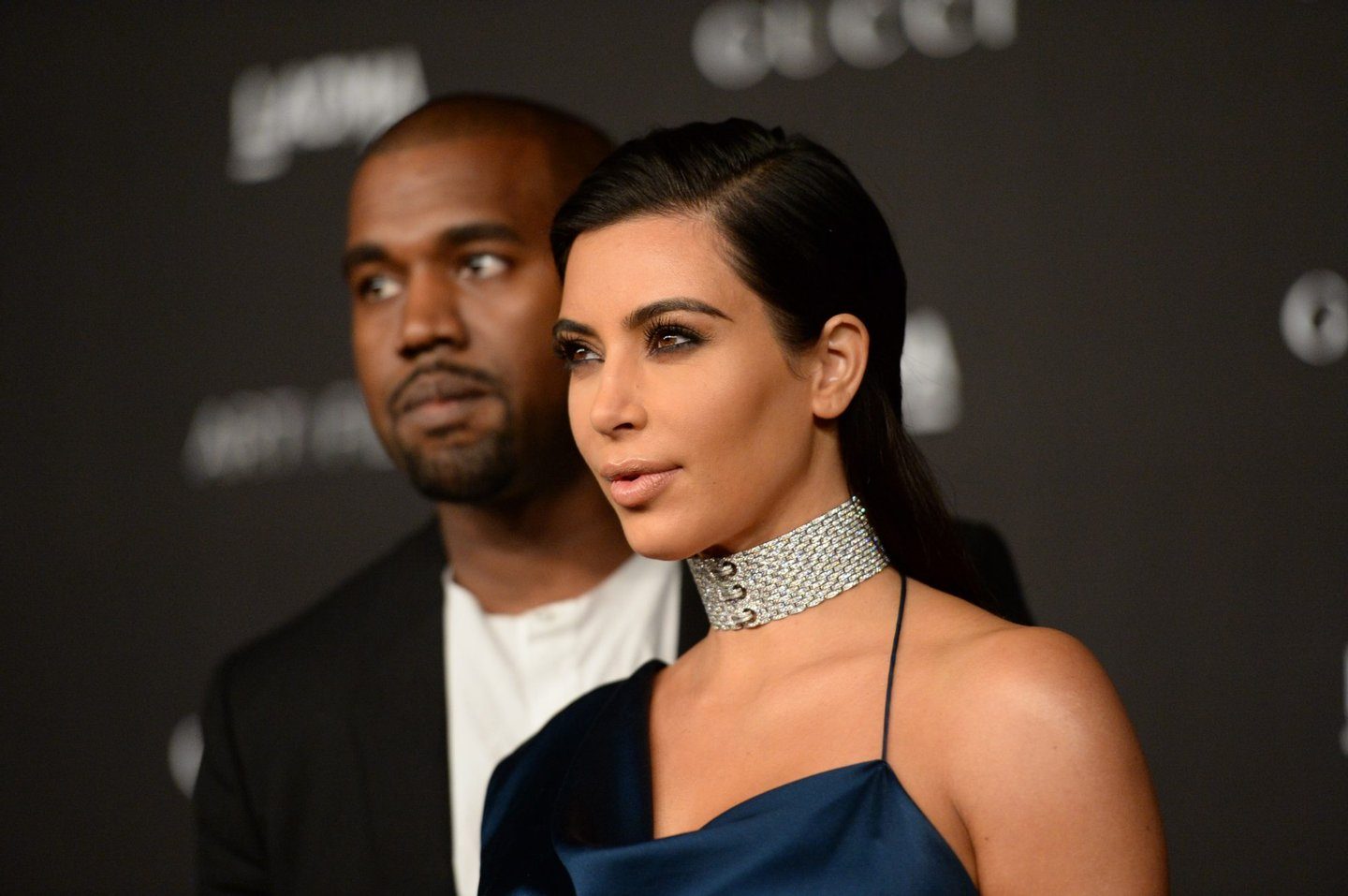 LOS ANGELES, CA - NOVEMBER 01: Recording artist Kanye West and TV personality Kim Kardashian West attend the 2014 LACMA Art + Film Gala honoring Barbara Kruger and Quentin Tarantino presented by Gucci at LACMA on November 1, 2014 in Los Angeles, California. (Photo by Jason Merritt/Getty Images for LACMA)