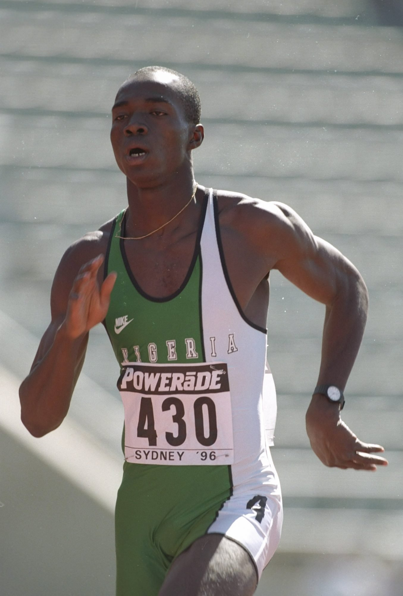 Aug 1996: Francis Obikwelu of Nigeria in action during the 100 metres event at the World Junior Championships in Sydney, Australia. Mandatory Credit: Gary M Prior/Allsport