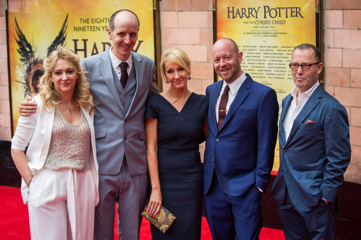 "LONDON, ENGLAND - JULY 30: Sonia Friedman, Jack Thorne, J. K. Rowling, John Tiffany and Colin Callender attend the press preview of ""Harry Potter & The Cursed Child"" at Palace Theatre on July 30, 2016 in London, England. Harry Potter and the Cursed Child, a two-part West End stage play written by Jack Thorne based on an original new story by Thorne, J.K. Rowling and John Tiffany. (Photo by Rob Stothard/Getty Images)"
