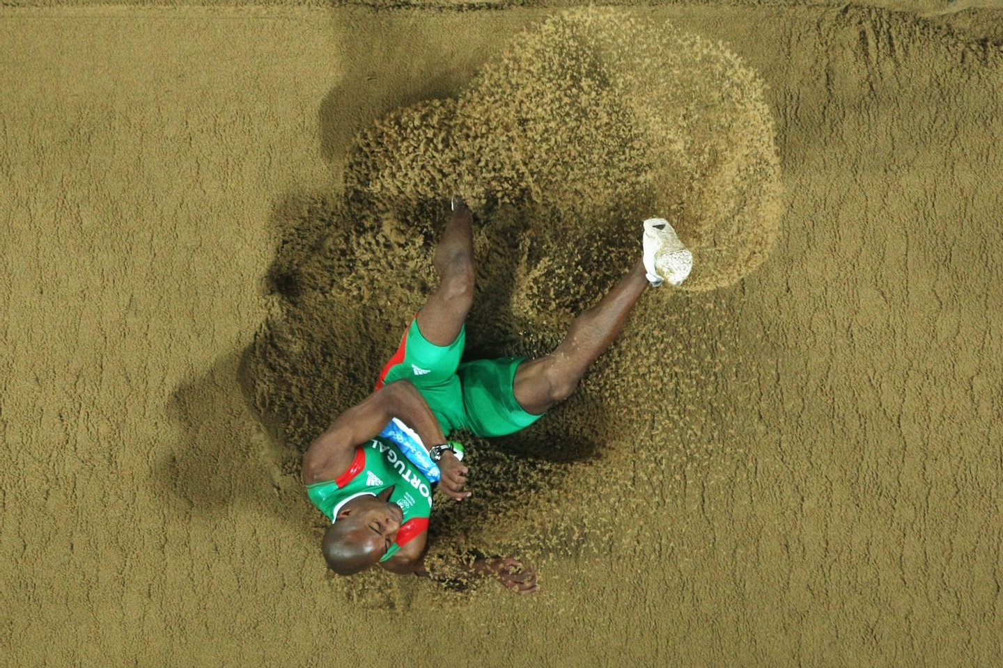 BEIJING - AUGUST 21: Nelson Evora of Portugal competes in the Men's Triple Jump Final held at the National Stadium during Day 13 of the Beijing 2008 Olympic Games on August 21, 2008 in Beijing, China. (Photo by Jed Jacobsohn/Getty Images)