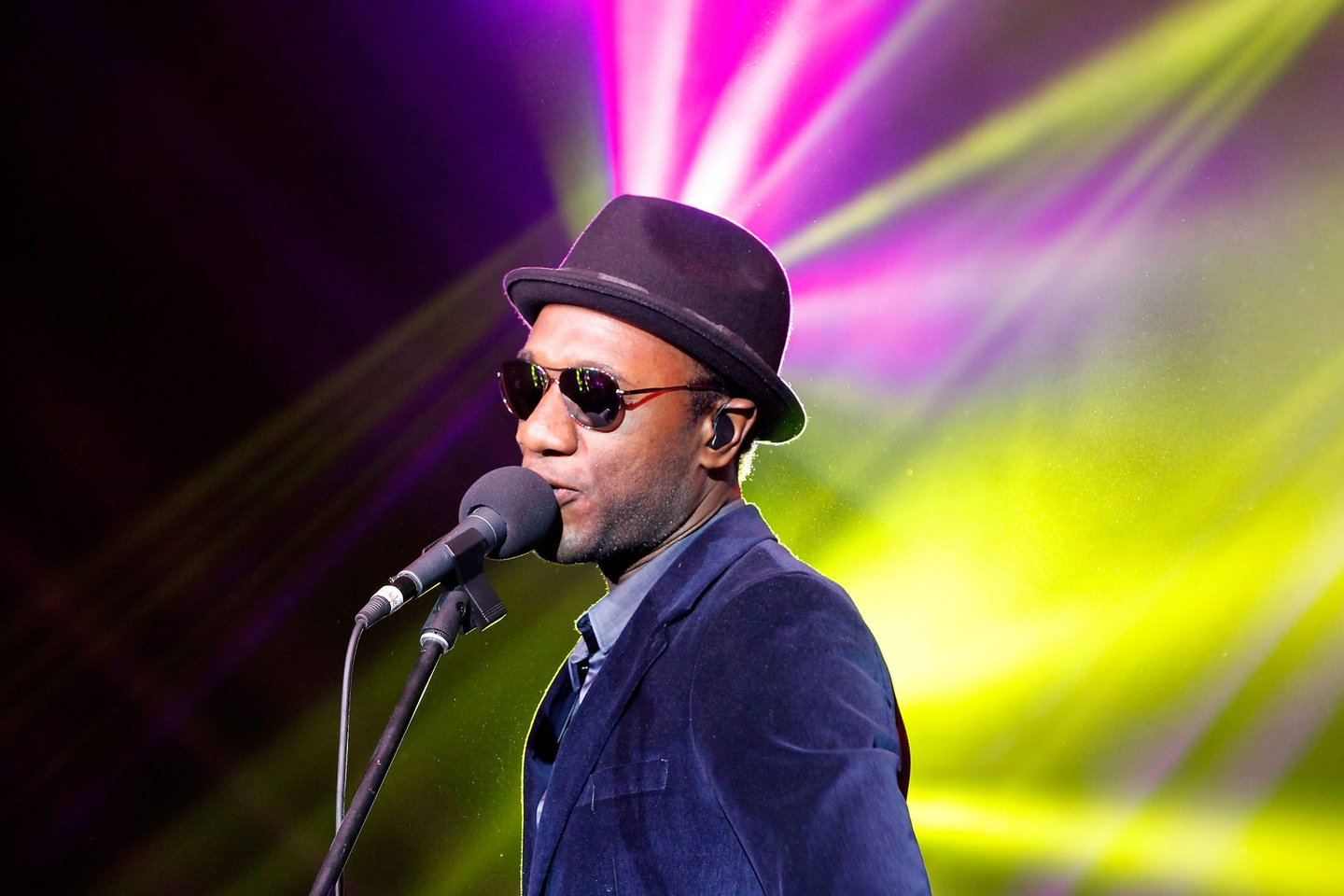 BEIJING, CHINA - APRIL 22: Singer Aloe Blacc performs during the exclusive 'For the Love of Cinema' event hosted by Swiss watch manufacturer IWC Schaffhausen in the role as new sponsor of the Beijing International Film Festival, at the Ming Dynasty City Wall on April 22, 2013 in Beijing, China. (Photo by Getty Images for IWC)