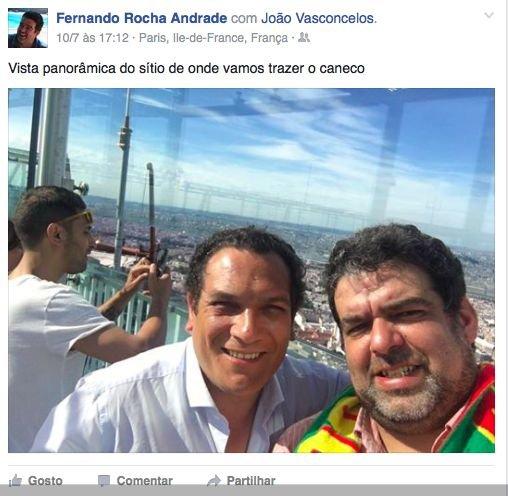 Fotografia publicada por Rocha Andrade no seu facebook, no dia da final do europeu, com o secretário de Estado da Inovação. Viajaram a convite da Galp.