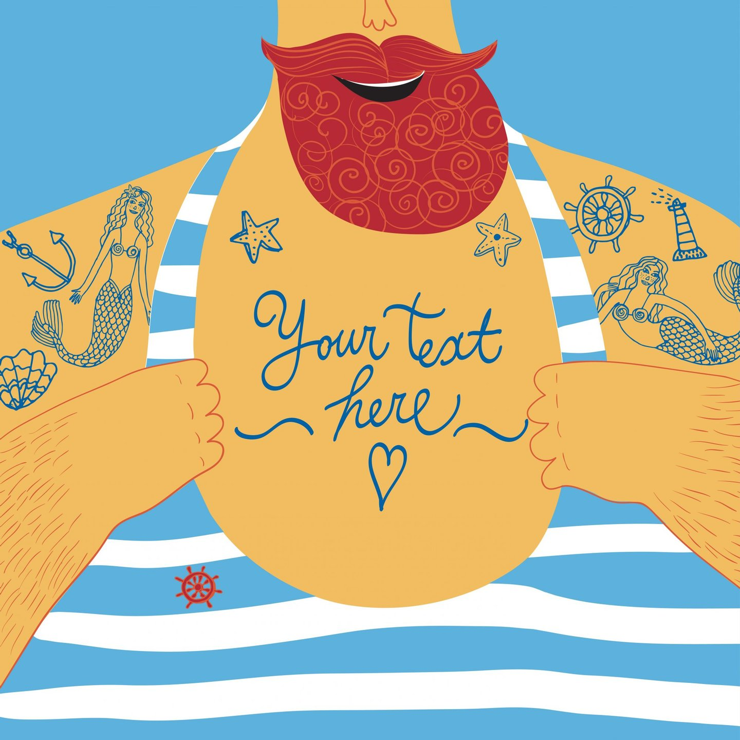 vector, man, illustration, anchor, beard, tattoo, drawing, sea, sailor, male, person, cartoon, chest, strong, smiling, captain, summer, body, adult, marine, nautical, healthy, human, elements, sailing, hand, athlete, strength, muscle, sexy, torso, image, handsome, fisherman, muscles, stylized, text, men, powerful, huge, t-shirt, postcard, mermaid, heart, wheel, seashell,