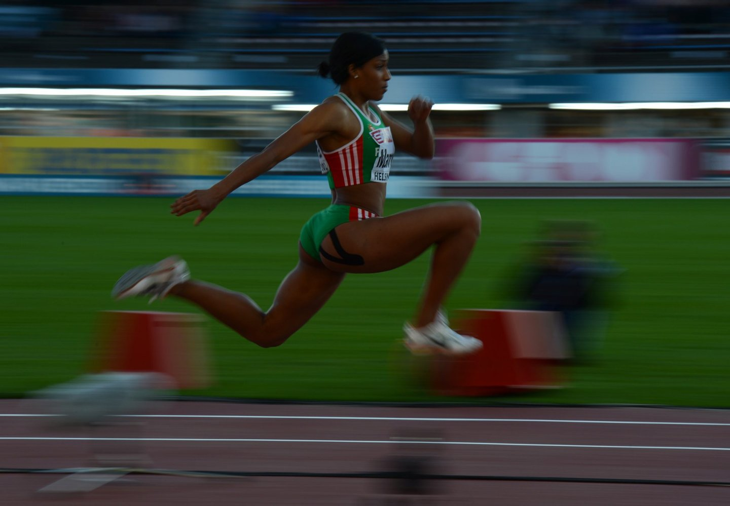 Portugal's Patricia Mamona competes during the women's triple jump final at the 2012 European Athletics Championships at the Olympic Stadium in Helsinki on June 29, 2012. AFP PHOTO / ADRIAN DENNIS (Photo credit should read ADRIAN DENNIS/AFP/GettyImages)