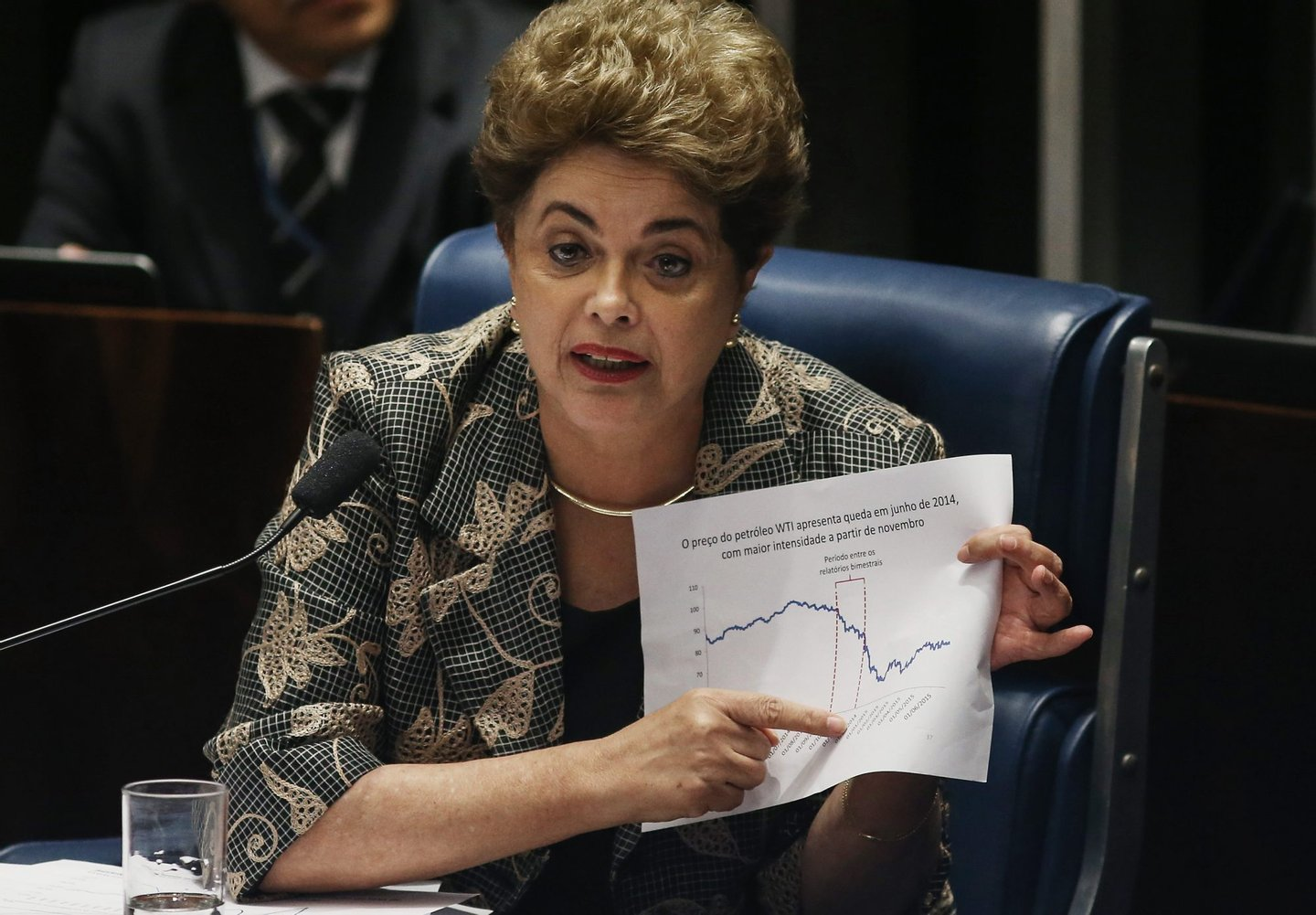 BRASILIA, BRAZIL - AUGUST 29: Suspended President Dilma Rousseff points to an economic chart displaying oil prices while answering a question from a Senator on the Senate floor during her impeachment trial on August 29, 2016 in Brasilia, Brasil. Senators will vote in the coming days whether to impeach and permanently remove Rousseff from office. (Photo by Mario Tama/Getty Images)
