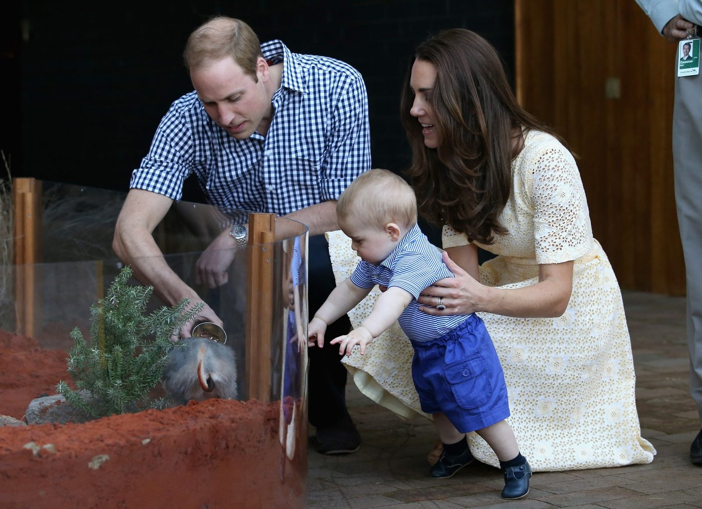 SYDNEY, AUSTRALIA - APRIL 20: Catherine, Duchess of Cambridge holds Prince George of Cambridge as Prince William, Duke of Cambridge looks on whilst meeting a Bilby called George at Taronga Zoo on April 20, 2014 in Sydney, Australia. The Duke and Duchess of Cambridge are on a three-week tour of Australia and New Zealand, the first official trip overseas with their son, Prince George of Cambridge. (Photo by Chris Jackson/Getty Images)