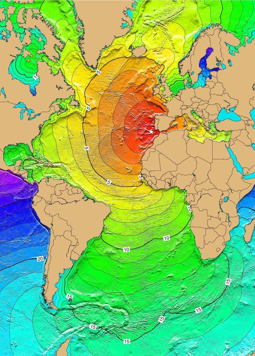 O terramoto de 1755 e a propagação do maremoto ao longo das horas