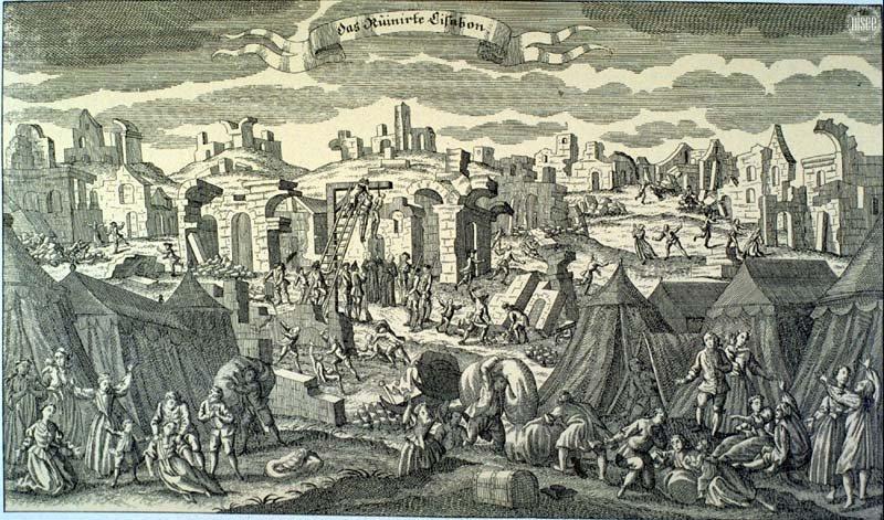 Uma gravura da época mostra a destruição em Lisboa provocada pelo grande terramoto de 1755
