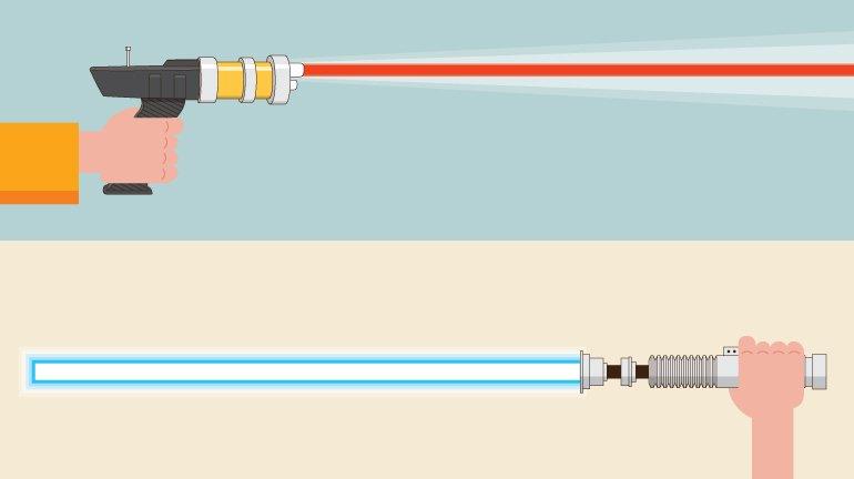 Phaser e Sabre de Luz: um deles mata com mais pinta