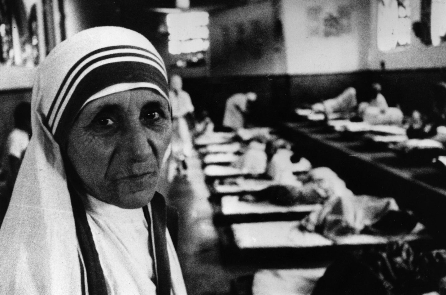 Charity worker Mother Teresa (1910 - 1997), seen in her hospital around the time she was awarded the Templeton Prize for Progress. (Photo by Mark Edwards/Keystone Features/Getty Images)