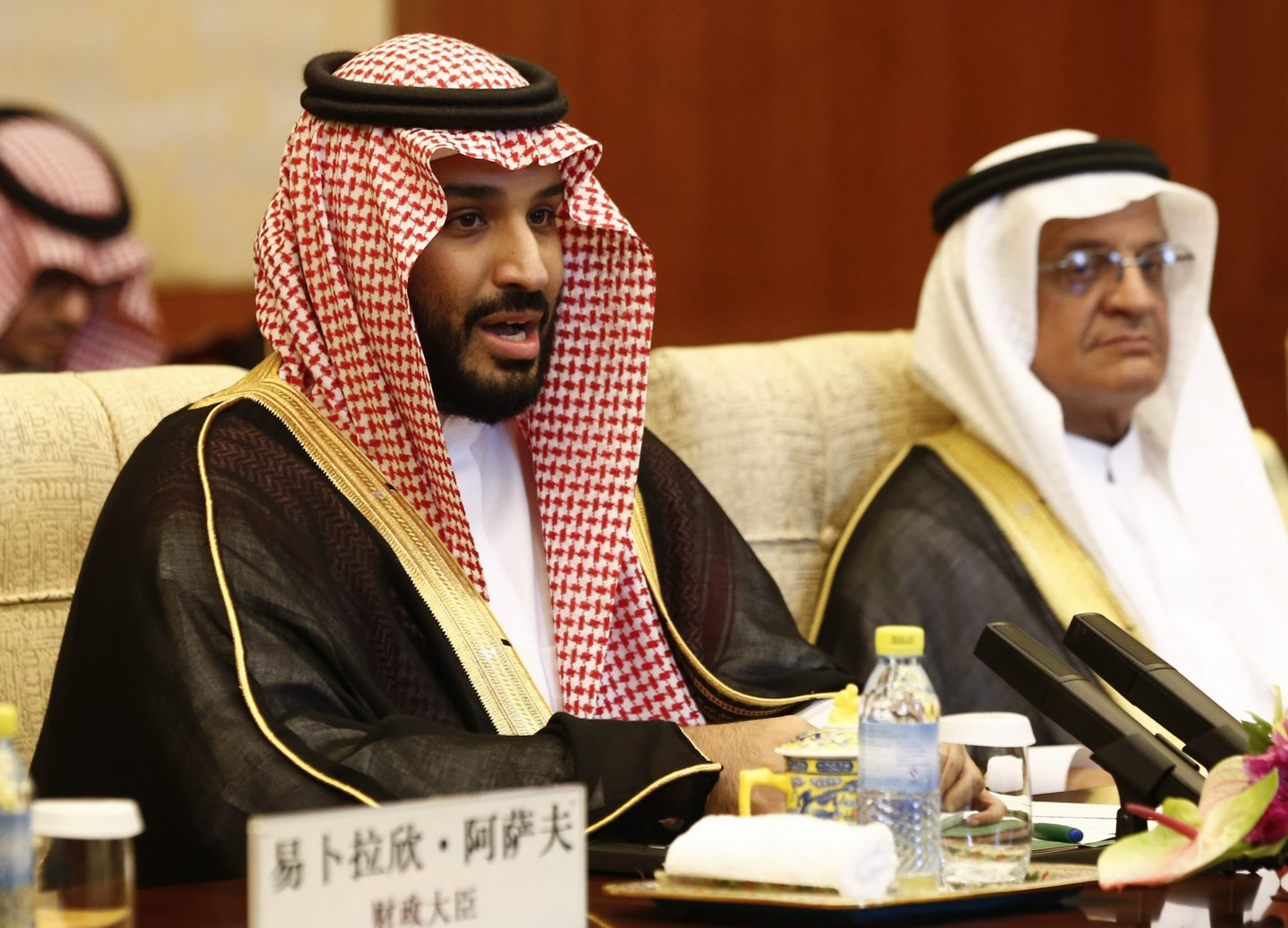 Saudi Arabia's Deputy Crown Prince Mohammed bin Salman (L) speaks during a meeting with Chinese President Xi Jinping at the Diaoyutai State Guesthouse in Beijing on August 31, 2016. The deputy prince is meeting Chinese officials during his visit to boost bilateral ties between the two nations. / AFP / POOL / Rolex DELA PENA (Photo credit should read ROLEX DELA PENA/AFP/Getty Images)