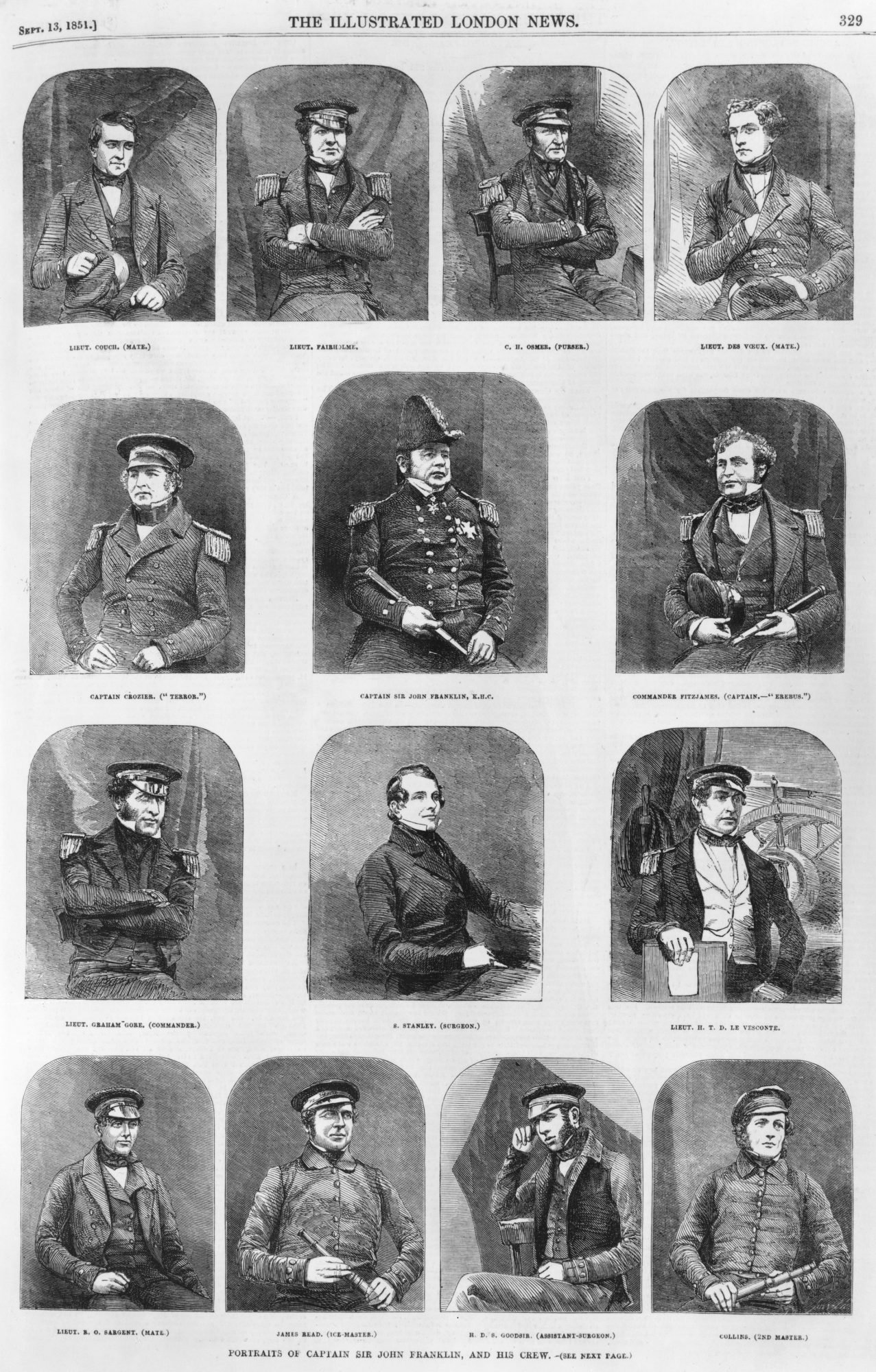 Portraits of Arctic explorer John Franklin and his crew, circa 1845. The entire expedition was lost on a voyage to the Northwest Passage. They are (left to right, from top) Lieutenant Couch (mate), Lieutenant Fairholme, C. H. Osmer (purser), Lieutenant des Voeux (mate), Captain Crozier of the 'Terror', Captain Sir John Franklin, Commander Fitzjames of the 'Erebus', Lieutenant Graham Gore (Commander), S. Stanley (surgeon), Lieutenant H. T. D. le Vesconte, Lieutenant B. O. Sargent (mate), James Read (ice-master), H. D. S. Goodsir (assistant surgeon) and Collins (second master). Original Publication : Illustrated London News - pub. 13th September 1851 (Photo by Hulton Archive/Getty Images)