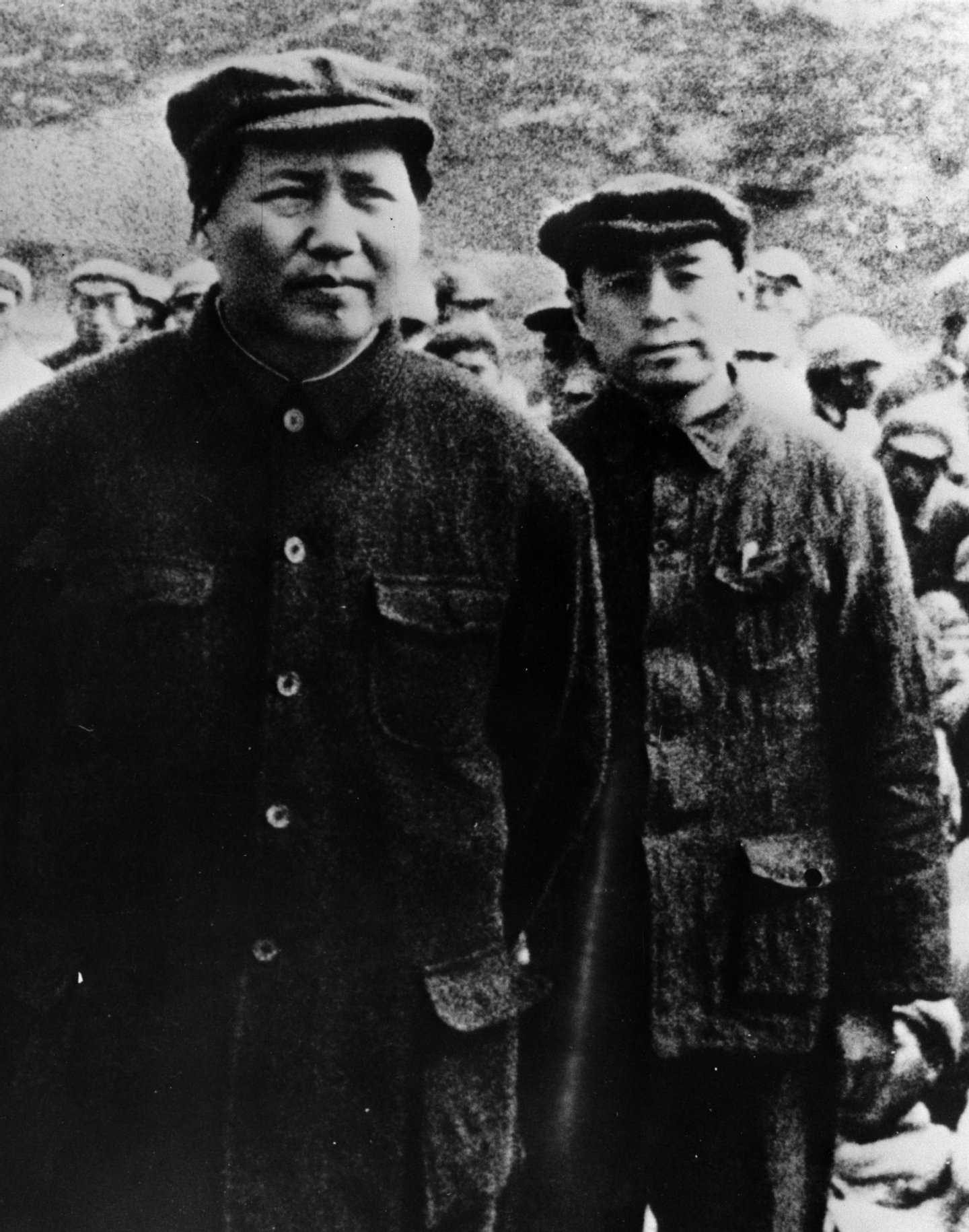 1935:  Mao Zedong (1893 - 1976) with Zhou Enlai (1898 - 1976) leaders of the Chinese Communist party during the 'Long March' when approximately 100,000 communists  under Mao walked over 5,00 miles to escape Nationalist Government troops.  (Photo by Keystone/Getty Images)
